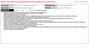 army supply technician resume supply technician resume sample