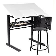 drafting table desk. Tangkula Drafting Table Art \u0026 Craft Drawing Desk Hobby Folding Adjustable W/ Stool