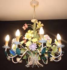 vintage french tole chandelier large fl toleware ceiling light ref gjn29