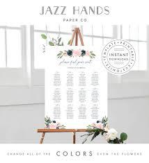 Printable Wedding Seating Chart Template Blush Pink And