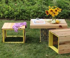 pallet furniture table. Pallet Wood Bench And Gabion Table Furniture