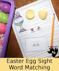 Easter counting for preschool math. Easter Egg Sight Word Matching 3 Dinosaurs