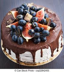 Chocolate Cake With Icing Decorated With Fresh Fruit Homemade