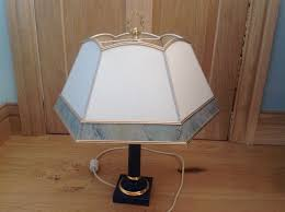 blue ceramic lamp base with hexagonal lampshade solid brass fitting