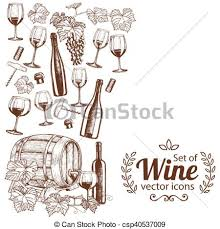 Wine Border Template Side Vertical Border With Sketch Wine Icons Template For Packaging