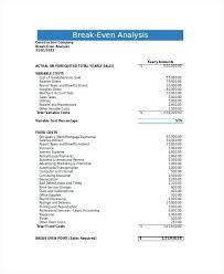 Break Even Point Excel Break Even Formula In Excel Blank Break Even Analysis Template