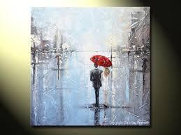 original art abstract painting couple red umbrella girl white grey blue city rain modern art on couple with red umbrella wall art with original art abstract painting couple red umbrella girl