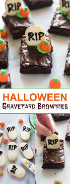 Halloween graveyard brownies are the perfect fun and easy Halloween treat  for a party! |