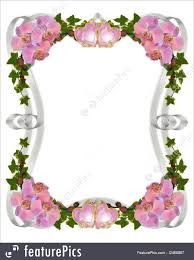 Party Borders For Invitations Flower Border Image And Illustration Composition Pink Orchids Ivy Hearts Ribbon Frame For Wedding Party Invitation With Copy Space