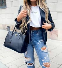 blouse white leather jacket leather boyfriend jeans shirts with sayings e on it jeans with rips
