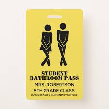 Student Hall Pass Funny School Bathroom Hall Pass Badge