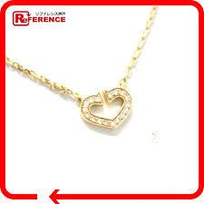 authentic cartier c heart pendant necklace 18k yellow gold diamond