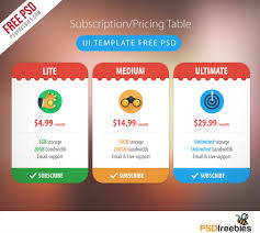 Pricing Table Templates 25 Free Psd Pricing Tables Templates For The Best Website