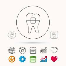 Orthodontic Tooth Chart Dental Braces Icon Tooth Healthcare Sign Orthodontic