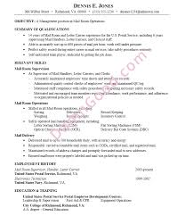 Resume mail room operations management