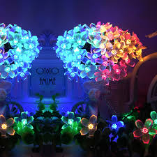 Us 13 6 32 Off Outdoor Garden Solar Light Led Christmas Lights Decorations For Home Outdoor Peach Flower Led String Lights Rgb Warm White White In