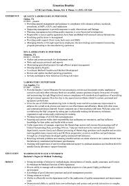 Supervisor Resume Sample Laboratory Supervisor Resume Samples Velvet Jobs 53