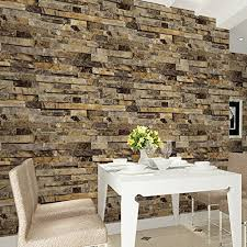HaokHome 91302 Modern Faux Brick Stone Textured Wallpaper Unprepasted  Yellow Multi Brick Blocks Home Room Decoration 20.8