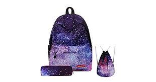 <b>3PCS</b> /<b>set</b> Women Stars Universe Space Backpack <b>School Bags</b> For ...