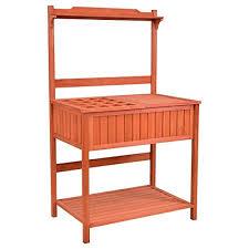 giantex outdoor potting bench with storage shelf garden work bench station planting fir wood construction