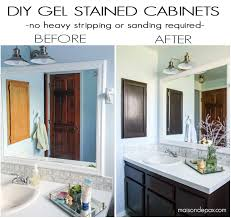 how to use gel stain maintain wood grain and update a bathroom with orange oak
