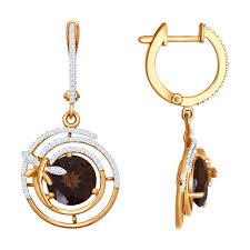 <b>Серьги</b> длинные из золота c фианитами и раух-топаз со <b>стрекозой</b>