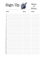 Printable Sign Up Sheet Template Free Free Printable Sign Up Sheet Room Surf Com