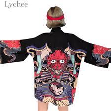 Lychee Harajuku Cartoon Demon <b>Print</b> Kimono Summer <b>Man</b> ...