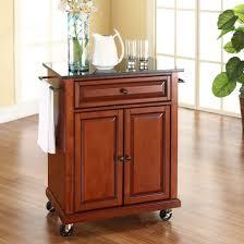 kitchen island cart granite top. Cherry Portable Kitchen Island Cart W/ Granite Top \u0026 Locking Wheels