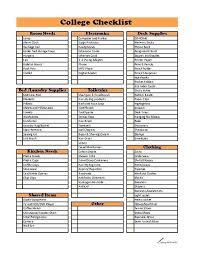 School Supplies List Template College Checklist Form School Checklist Template School