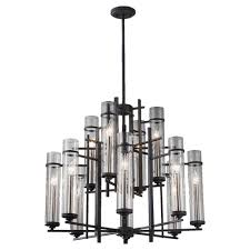 feiss ethan 12 light antique forged iron brushed steel multi tier chandelier shade