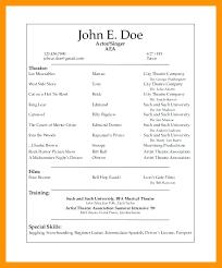 Musical Theatre Resume Template - Sarahepps.com -