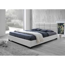 Full Upholstered Bed Frame Baxton Studio Vivaldi Modern And Contemporary White Faux Leather