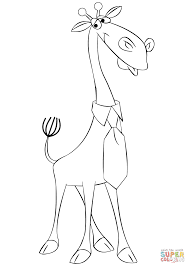 Small Picture Cartoon Giraffe Wearing a Tie coloring page Free Printable