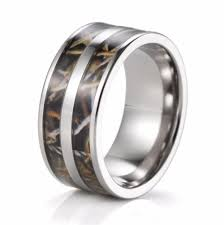 men s 9mm anium double realtree max 4 camo enement ring camo wedding band