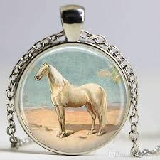 whole horse necklace pendant wearable art horse jewelry pendant car glass dome pendant gift gold chains diamond necklace from xujiangyong