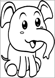 Cute Baby Elephant Coloring Page Wecoloring