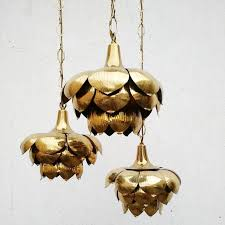 hollywood regency brass triple lotus pendant chandelier by feldman co for 1