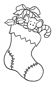 christmas stocking clipart black and white. Plain Stocking Little Mouse Hidding On Christmas Stocking Coloring Page  Kids On Clipart Black And White