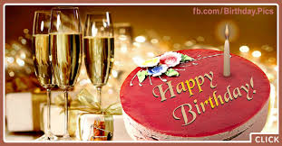 Three Champagne Glasses Happy Birthday Card To You Happy Birthday