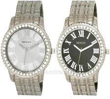 mens bling watches genuine henley gents mens sparkly crystal bling watches hb003 brand new