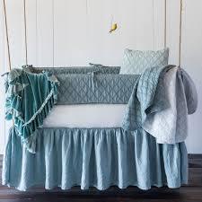 linen crib dust ruffle in pacific