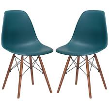 Teal Chair Set Of 2 Eames Style Vortex Molded Plastic Dowel Leg Dining Side