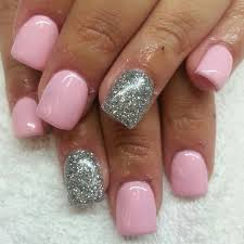 acrylic nails with baby pink sac and silver glitter insram boop711