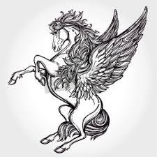 Fototapeta Ručně Malovaná Ročník Pegasus Mytologický Okřídleného Koně Viktoriánský