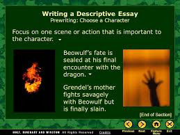 writing workshop writing a descriptive essay assignment prewriting  4 beowulf s