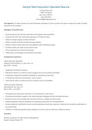 Resume Specialists Sample Talent Acquisition Specialist Resume Resume