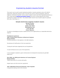 Engineering Student Resume Format Examples Listmachinepro Com