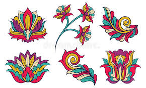 Colorful <b>Feather</b> And Floral Ornament Vector Set. <b>Abstract Indian</b> ...