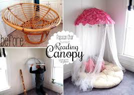 old papasan turned canopy reading nook